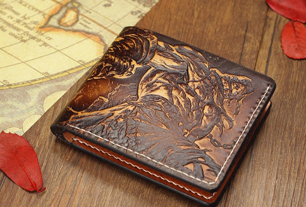 Handmade League of Legends LOL Tryndamere carved leather custom short wallet for men gamers