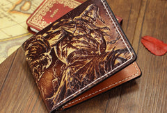 Handmade League of Legends LOL Tryndamere carved leather custom billfold wallet for men gamers