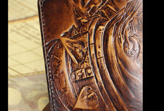 Handmade League of Legends LOL the-Butcher-of-the-Sands_Renekton carved leather custom long wallet for men gamers