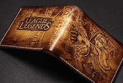 Handmade League of Legends LOL Ezreal carved leather custom billfold wallet for men gamers