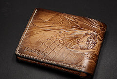Handmade League of Legends LOL The Crimson Reaper Vladimir carved leather custom short wallet for men gamers