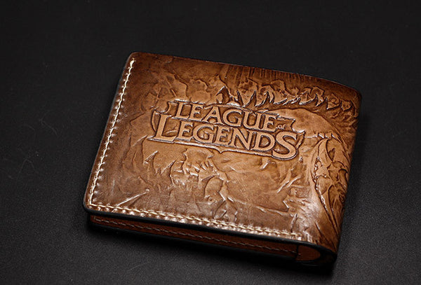 Handmade League of Legends LOL Thresh the Chain Wardencarved leather custom short wallet for men gamers
