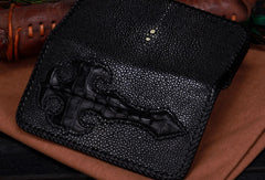 Handmade leather Pearl fish crocodile skin long biker trucker wallet leather clutch men Black Tooled wallet