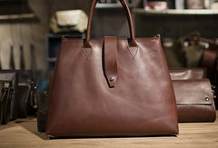 Handmade Leather big handbag dark green brown for women leather shoulder bag