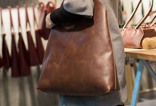 f70b6c54ba Handmade Leather vintage Large tote bags coffee for women leather shoulder  bag