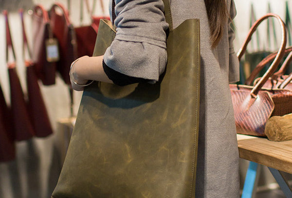 Handmade Leather Big Large tote bag dark green for women leather shoulder bag