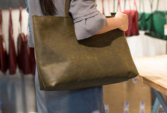 Handmade Leather vintage Big Large tote bag dark green for women leather shoulder bag