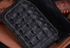 Handmade leather alligator skin long biker trucker wallet leather clutch men Black Tooled wallet
