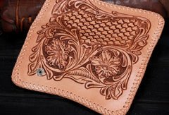Handmade leather biker trucker beige floral wallet leather chain men Black Tooled wallet