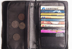 Handmade vintage long wallets leather mens zipper clutch wallet for men