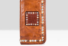 Handmade long wallet rivet leather men phone clutch vintage wallet for men