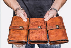 Cool Leather Mens Long Wallets Vintage Brown Bifold Long Wallets for Men