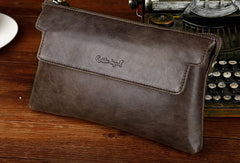 Leather large clutch leather men Wristlet Wallets zipper clutch wallet for men