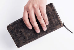 Cool Vintage mens leather long wallet vintage bifold long wallet for men
