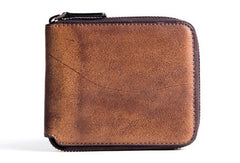 Handmade billfold wallet leather men zip multi cards vintage wallet for men