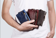 Handmade short wallet leather biker wallet chain men zip multi cards vintage wallet for men