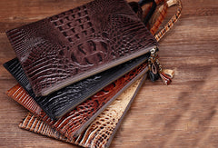 Cool Leather large wristlet wallets leather men zipper clutches wallet for men