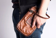 Cool Leather mens wirstlet long wallet leather wristlet zipper clutch wallet for men