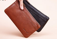 Genuine Leather long wallet leather men phone zip clutch vintage wallet for men
