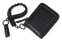 Leather biker billfold trucker wallet leather chain men Black Red long wallet