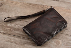 Leather biker wallet small  trucker wallet leather chain men Black biker long wallet