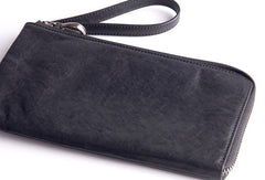 Cool leather mens Wristlet Wallets long wallet zipper clutch wallet for men