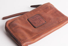 Cool Vintage mens leather long wallet vintage bifold wristlet long wallet for men
