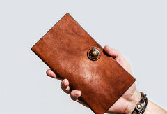 Cool Leather Mens Long Wallet Vintage Slim Long Bifold Wallet for Men
