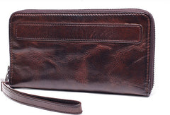 Genuine long wallet leather men phone clutch vintage wallet for men