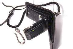 Leather biker small trucker wallets leather chain men Black biker long wallets