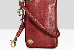Leather biker trucker wallet leather chain men Black Red long wallet