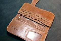 Handmade leather biker trucker wallet leather chain men Kanagawa wave Carved Tooled wallet
