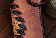 Handmade leather Long biker trucker wallet leather chain men indian Black Carved Tooled wallet