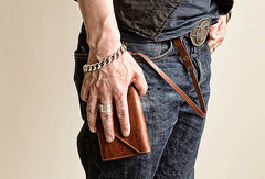 Handmade leather biker trucker wallet leather chain men Brown long wallet