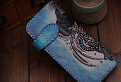 Handmade leather biker trucker Blue prajna wallet leather chain men Black Carved Tooled wallet