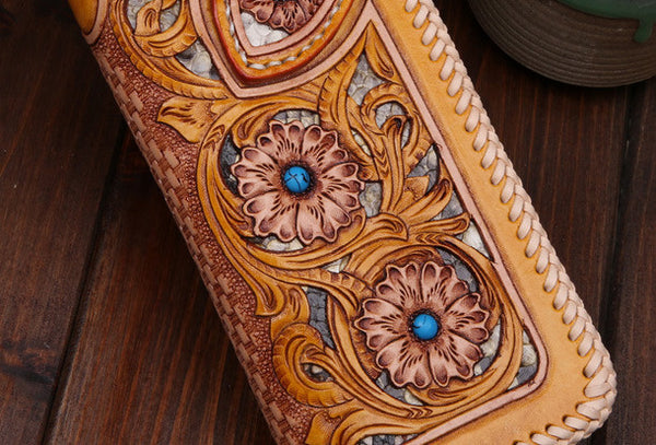 Handmade leather biker trucker floral flowers wallet