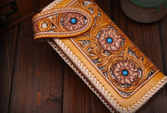 Handmade leather biker trucker floral flowers wallet leather chain men Black Carved Tooled wallet