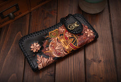 Handmade Long leather biker trucker japanese general wallet leather chain men Black Carved Tooled wallet