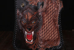 Handmade leather Long biker trucker wolf wallet leather chain men Black Carved Tooled wallet