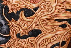 Handmade leather Long Black Chinese Dragon wallet leather men clutch Tooled wallet