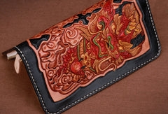 Handmade leather Long Black Chinese Lion wallet leather men zip clutch Tooled wallet