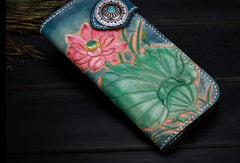 Handmade leather biker trucker blue lotus wallet leather chain men Black Tooled wallet