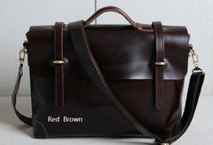 Handmade leather men Briefcase messenger dark coffee brown shoulder bag vintage bag