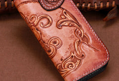 Handmade leather biker trucker brown lion wallet leather chain men Black Tooled wallet