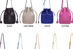 Handmade Leather bucket bag shoulder bag blue purple for women leather crossbody bag