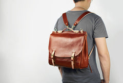 Handmade Leather backpack bag shoulder bag black brown for unisex leather messenger bag