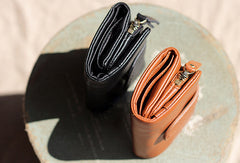 Handmade Genuine leather trifold short  purse wallet purse coin women