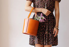 Handmade Leather Barrel bag shopper bag for women leather handbag shoulder bag