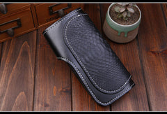 Handmade leather Long biker trucker wallet leather chain men snake skin black wallet