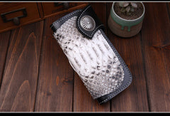 Handmade leather Long $biker trucker wallet leather chain men snake skin black wallet